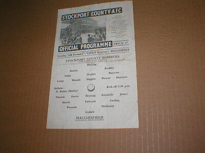 STOCKPORT COUNTY  RESERVES v  MACCLESFIELD 14/12/46 CHESHIRE LGE