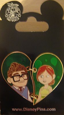 DISNEY- PIXAR'S UP- Carl and Ellie Two Piece Heart Pin - New on Card # 113573