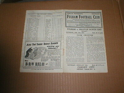 Fulham V Preston North End Friendly 12/2/49