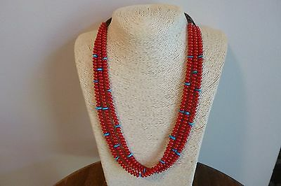Red Coral And Turquoise With Silver Native American Navajo Style Necklace