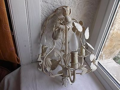 French vintage chandelier tole 3 light charming decoration