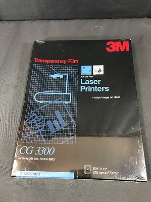 "3M Transparency Film CG3300 for Laser Printers 50 Sheets Sealed 8.5"" X 11"""