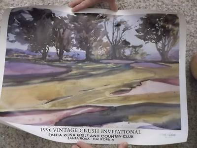 Vintage Golf CRUSH INVITATIONAL Lithograph PRINT #33 Artist Signed SALLY CATALDO