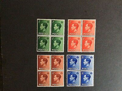 Sg 457 - 460 Edward VIII Set of 4 stamps in blocks of 4 UNMOUNTED MINT/MNH