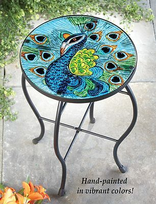 Beautiful Peacock Glass Porch Patio Accent Table