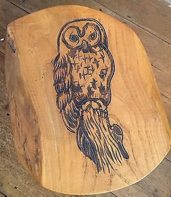 Vintage Chunky Wooden Owl Carved Stool