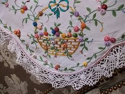 Vintage French Linen Embroidery Table Cover .Baskets Of Flowers & Bows