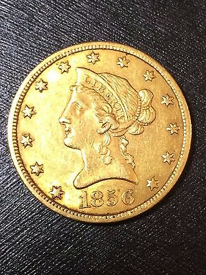 1856 $10 Gold Eagle AU +++ Key date Early type