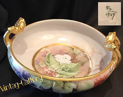ANTIQUE PORCELAIN BOWL w/ HANDLES Dated 1907 Model #5733 Hand painted