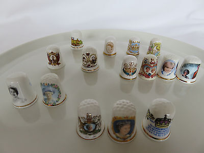 Collection of 15 Royal Family Thimbles: Caverswall (4), Staffordshire, Fenton, .