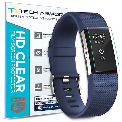 Fitbit Charge 2 Screen Protector, Tech Armor HD Clear Film [2-Pack]