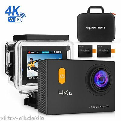 APEMAN Sports Action Camera 4K 20MP Wi-Fi Action Cam Waterproof 30M 2.0 Inch LCD