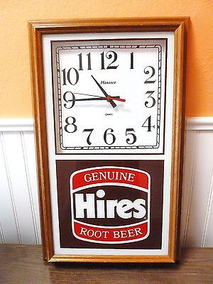VINTAGE HIRES ROOT BEER ADVERTISING CLOCK by HANOVER! 1970'S OR 80'S.