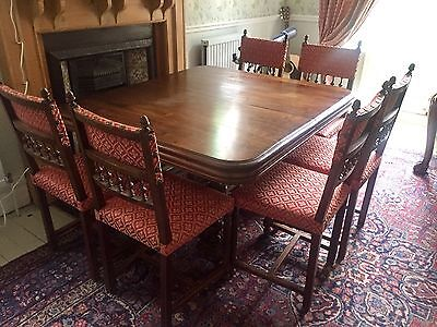 Beautiful Antique Solid Wood Extendable Dining Table And Chairs Set Edwardian?