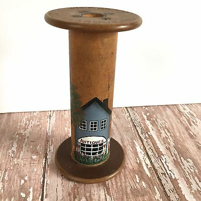 "Antique Wooden Spool Textile Bobbin Hand Painted Spindle Weaving Decor 4 5/8"" J1"