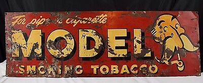 "MODEL Smoking Tobacco SIGN 34"" rare For pipe or cigarette, Man On Right"