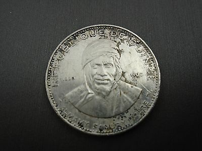1900 Republic Of Guinea 200 Francs Heavily Cleaned Silver Coin  #k3