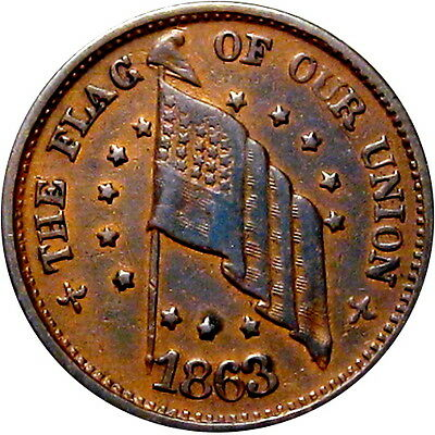 1863 The Flag Of Our Union Army & Navy Patriotic Civil War Token