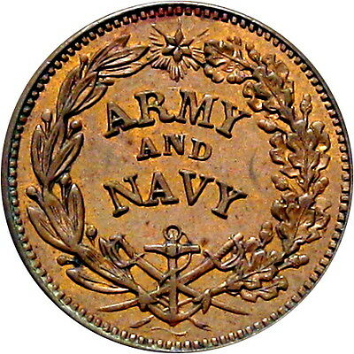 Army & Navy Federal Union Must & Shall Be Preserved Patriotic Civil War Token