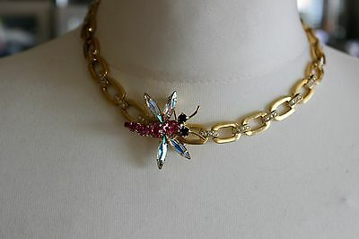 Vintage chain link necklace and crystal butterfly brooch
