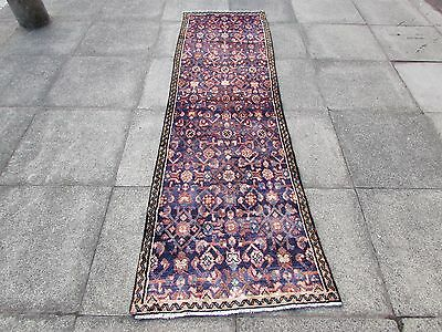 Old Hand Made Traditional Persian Rug Oriental Blue Wool Long Runner 253x72cm