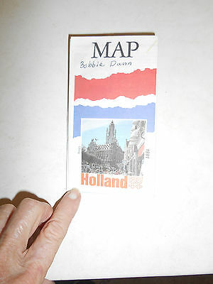 Map of Holland 1991 2-Sided  Reverse Side LOTS of Handy Travel Tips for Region