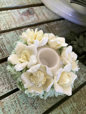 Porcelain Flower Basket Floral Candle Holder Yellow Cream Mint Green Taper