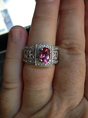 14ct White Gold Pink Sapphire and Diamond Engagement / Dress Ring