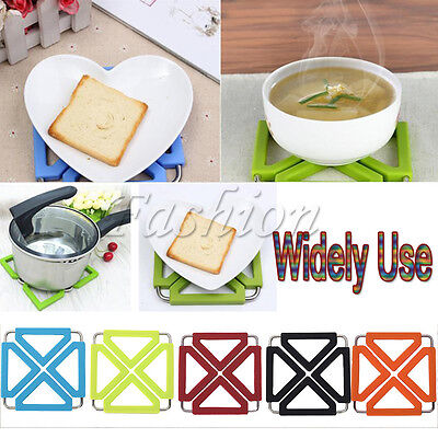 NEW Silicone & Stainless Steel Trivet Mat Heat Resistant Foldable Pan Pot Holder