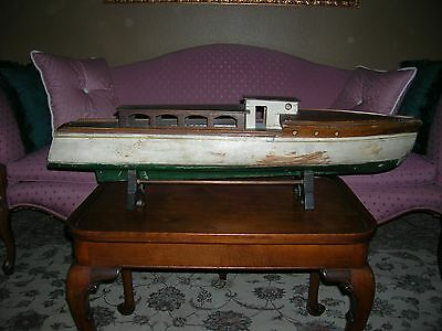 """Vintage (1920's-30's) large 35"""" wooden pond boat with original paint"""