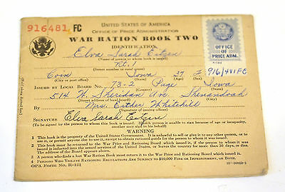 US War Ration Book Two 916481