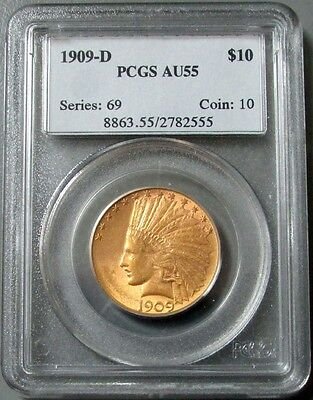1909 D Gold $10 Indian Head Eagle Coin Ngc About Uncirculated 55 Pq