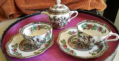 "Vintage Coalport England ""Indian Tree"" Engraving Tennis Snack & Tea Set"