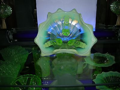 """yellow opalescent approximately 7"""" wide Vaseline glass candy dish"""