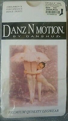 Danze n motion footed dance tights theatrical pink girls 4-6