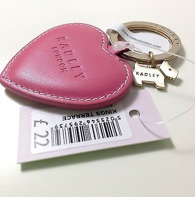 BNWT Radley Deep Pink Leather Heart with Metal Dog Charm Keyring Love Gift