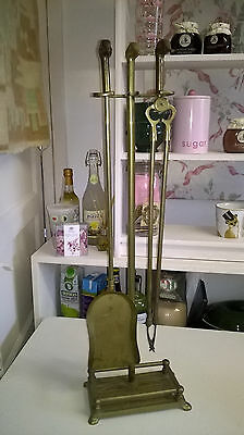 Vintage Long Handled Brass Fire Companion Set with Duck Head Handles