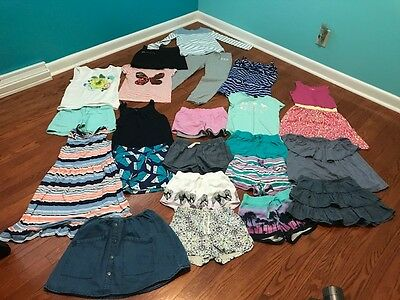 Large Lot of Girl's Summer Clothing  and shoes sizes 7, 8 & 10 Tom's Birkenstock