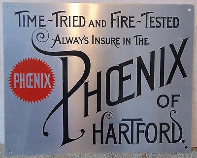 Phoenix of Hartford Insurance Aluminum Advertising Sign. Depressed Letters.