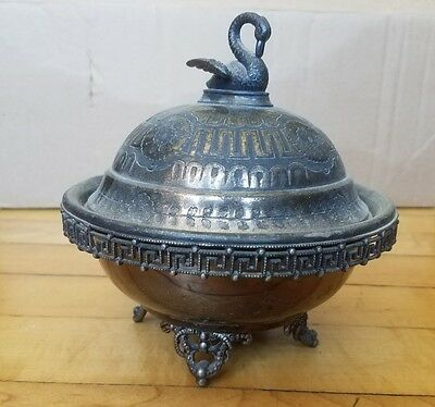 Silverplate Domed Butter Dish Footed , By Redfied & Rice  Antique Dish