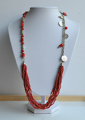 Vintage Tribal Necklace Red Coral Seeds Glass Multiple Strand Silvertone Beads