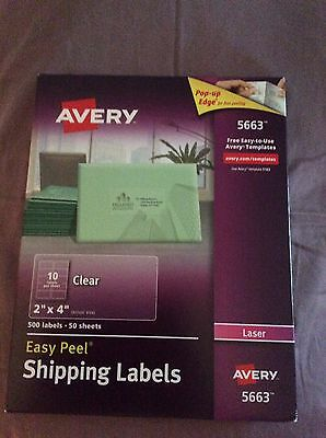 Avery Shipping Labels for Laser Printers, Easy Peel, 2 x 4 Inches, Clear, Box of