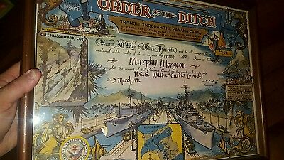 Order Of The Ditch Us Navy Panama Canal Uss Wilbur Curtis Framed Certificate