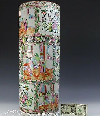 Large Antique Chinese 19th Famille Rose Umbrella Stand