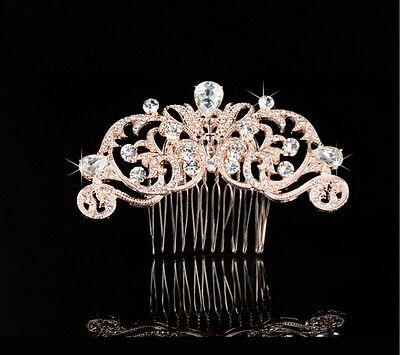 Wedding Bridal Vintage Rose Gold Pearl Hair Comb Headpiece Swarovski ElementsNEW