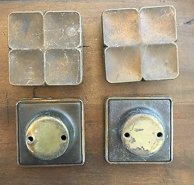 """4 Unique Antique Solid Brass VERY LARGE Art Deco Knobs Pulls 1"""" Spread"""