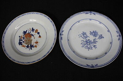 """Pair of 2 Antique Late 18th Century Chinese Export Blue & White 9"""" Floral Plates"""