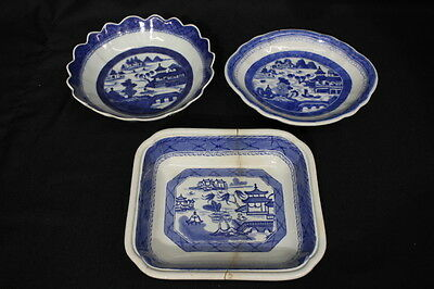 Lot of 3 Antique 19th Century Chinese Export CANTON Blue STAPLE REPAIRED Dishes