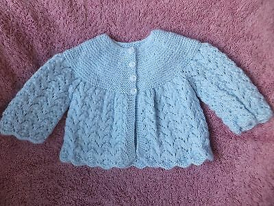 Baby Boy Hand Knitted Matinee Jacket. 0-3 mths.