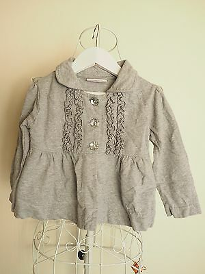 "Size 2 ""BQT"" Grey Collared Jacket with Ruffle Detail w/ Flower Gem Buttons"